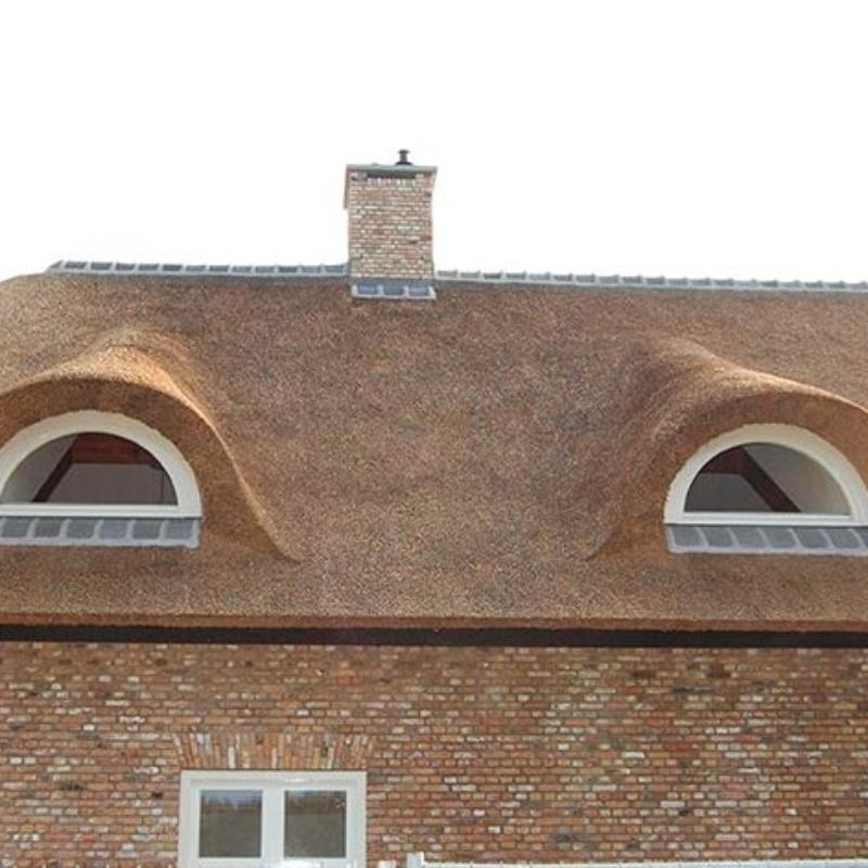 Referentie Rietdekkersbedrijf Molenaar: detail rieten dak woonhuis Nuland