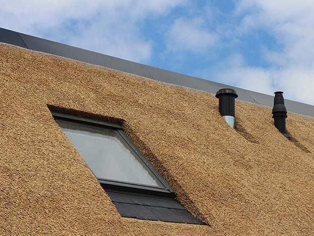 Referentie Rietdekkersbedrijf Molenaar: rieten dak woonhuis Vlijmen, detail dakraam