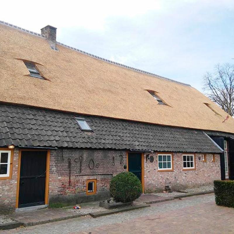 Referentie Rietdekkersbedrijf Molenaar: rieten dak woonboerderij Den Dungen