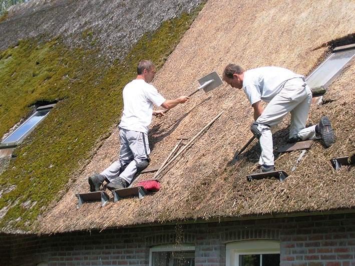 Onderhoud aan een rieten dak door Robert en Stefan van Rietdekkersbedrijf Molenaar